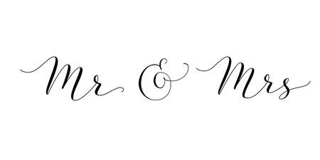 Mr and Mrs words with ampersand. Mister and Missis hand written custom calligraphy isolated on white. Imagens - 82343893