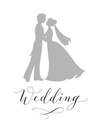 Wedding design concept. Bride and groom silhouettes and hand written custom calligraphy isolated on white Çizim