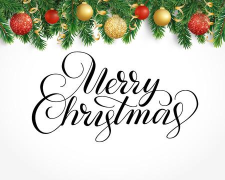 もみの木のガーランド、装飾品やメリー クリスマスのグリーティング カード
