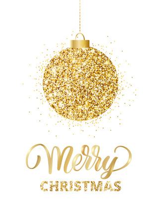 メリー クリスマス カード レタリングとキラキラ装飾付き。ハンギ
