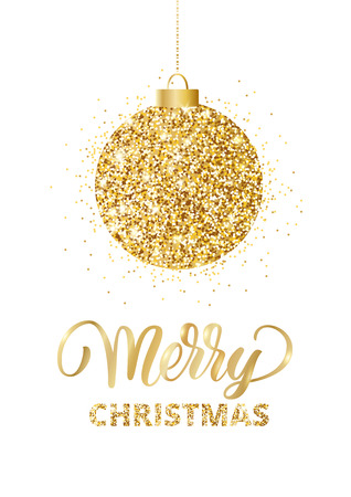 Merry Christmas card with lettering and glitter decoration. Hangi Ilustracja