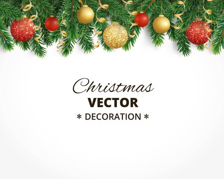 Christmas background with fir tree garland, hanging balls and rib