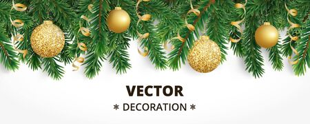 Horizontal christmas banner with fir tree garland, hanging balls and ribbons. Vectores