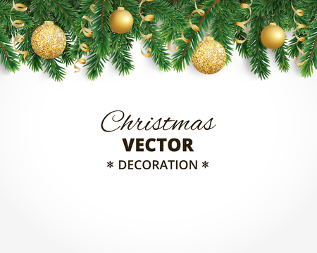 background with christmas tree garland and ornaments hanging golden glitter balls and ribbons great - Garland For Christmas Tree