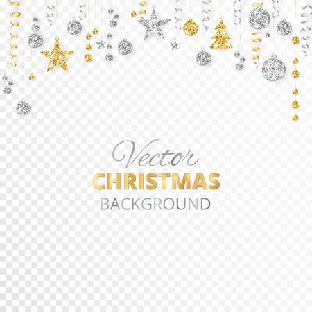 Ornements de paillettes de Noël scintillant isolés sur fond transparent. Frontière de fiesta or et argent. Guirlande avec des boules et des rubans suspendus. Idéal pour les affiches de fête du nouvel an, les en-têtes de site Web. Vecteurs