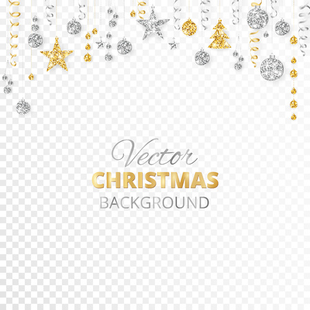 Sparkling Christmas glitter ornaments isolated on transparent background. Gold and silver fiesta border. Garland with hanging balls and ribbons. Great for New year party posters, website headers. Stock Vector - 87662715