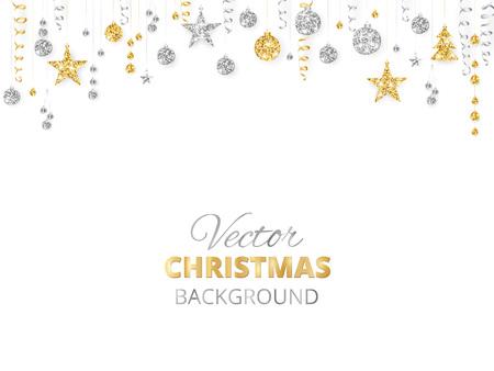 Ornamenti scintillanti di scintillio di Natale. Bordo dorato di festa, ghirlanda festiva con le palle d'attaccatura e nastri isolati su bianco. Archivio Fotografico - 87675992