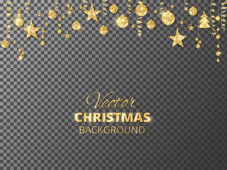 반짝 이는 크리스마스 반짝이 장식품. 황금 축제 테두리입니다. 매달려 공 및 리본 투명 한 배경에서 분리와 함께 축제 갈 랜드.