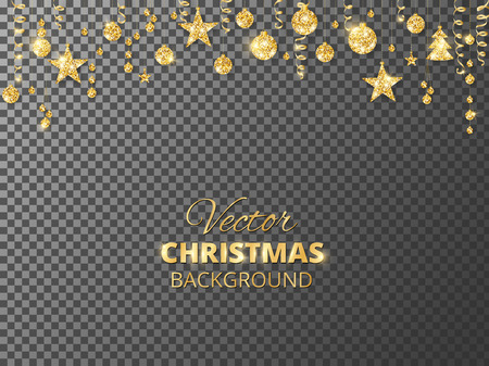 Sparkling Christmas glitter ornaments. Golden fiesta border. Festive garland with hanging balls and ribbons isolated on transparent background.