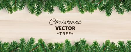Banner with vector christmas tree branches on wooden background.