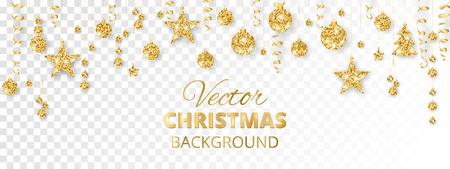 Sparkling Christmas glitter ornaments. Golden fiesta border.
