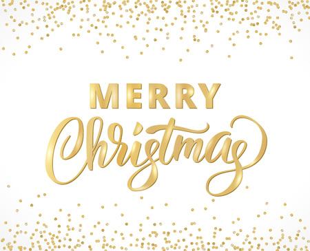 Carte de Noël joyeux avec lettrage écrit à la main. Bordure de paillettes dorées, tombant des confettis sur blanc. Idéal pour les invitations, bannières, affiches de fête. Vecteurs