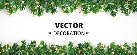 Fondo de vacaciones de invierno. Frontera con ramas de árboles de Navidad y adornos aislados en blanco. Guirnalda de agujas de abeto, marco con serpentinas. Ideal para tarjetas de Año Nuevo, pancartas, encabezados, carteles de fiesta. Ilustración de vector