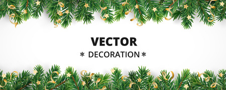 Winter holiday background. Border with Christmas tree branches and ornaments isolated on white. Fir needles garland, frame with streamers. Great for New year cards, banners, headers, party posters. Vettoriali