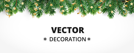 Winter holiday background. Border with Christmas tree branches and ornaments isolated on white. Fir needles garland, frame with streamers. Great for New year cards, banners, headers, party posters. Stock Illustratie