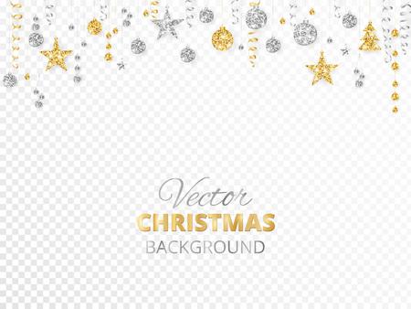 Musujące ozdoby świąteczne brokat na przezroczystym tle. Obramowanie fiesty złota i srebra. Girlanda z wiszącymi kulkami i wstążkami. Świetne do plakatów z imprezami noworocznymi, nagłówków stron internetowych.