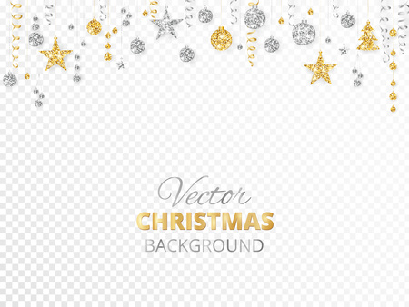 Sparkling Christmas glitter ornaments isolated on transparent background. Gold and silver fiesta border. Garland with hanging balls and ribbons. Great for New year party posters, website headers.