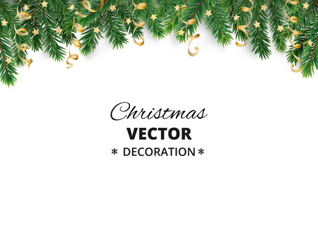 Winter holiday background. Border with Christmas tree branches and ornaments isolated on white. Fir needles garland, frame with streamers. Great for New year cards, banners, headers, party posters.  イラスト・ベクター素材