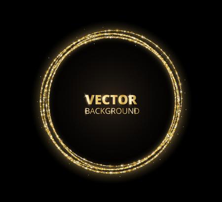 Fond d'éclat d'or, cadre de cercle de paillettes. Poussière de vecteur noir et or.
