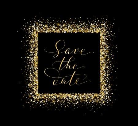 date night: Save the date card, hand written custom calligraphy on black. Sparkling golden frame, glitter rectangle.