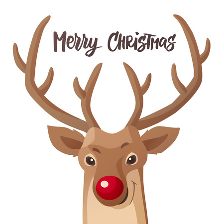 Cartoon Christmas illustration.  Red nose reindeer isolated on white. Vector.