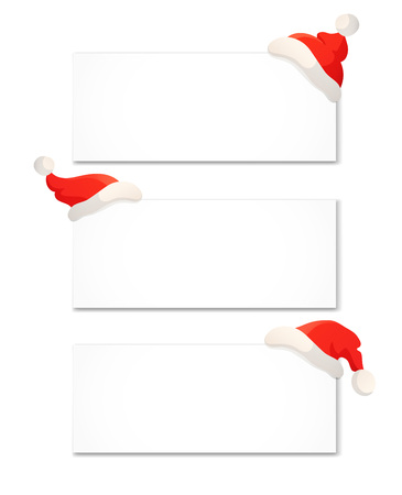 Christmas banner design template isolated on white. Cartoon illustration of Santa red hat Stock Photo