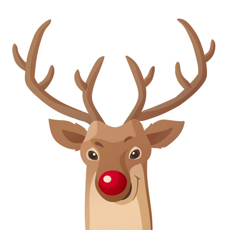Cartoon Christmas illustration. Funny Rudolph red nose reindeer isolated on white. Vector.