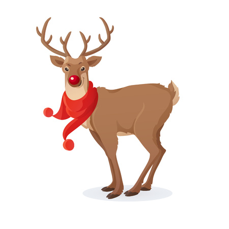 Cartoon Christmas illustration. Funny Rudolph red nose reindeer with scarf isolated on white. Vector.
