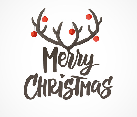 Merry Christmas card. Hand drawn lettering. Reindeer horns with Christmas balls decoration. Great for gift tags and labels.