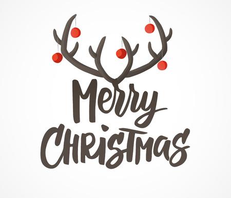 Cartão de feliz Natal. Letras de mão desenhada. Chifres de rena com decoração de bolas de Natal. Ótimo para etiquetas de presente e rótulos.