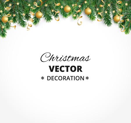 Winterurlaub Hintergrund. Grenze mit Weihnachtsbaum Ästen. Girlande, Rahmen mit hängenden Kugeln, Luftschlangen Vektorgrafik