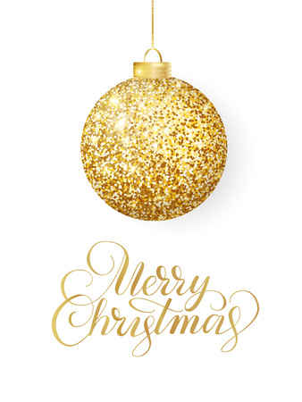 Hanging Christmas golden ball isolated on white. Sparkling metal glitter bauble. Merry Christmas hand drawn text Stock Photo