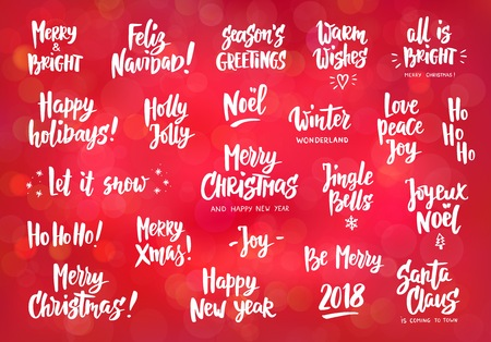 Set of holiday greeting quotes and wishes hand drawn text brush set of holiday greeting quotes and wishes hand drawn text brush lettering merry m4hsunfo