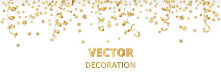 Holiday background. Isolated golden garland border, frame. Hanging baubles, streamers, falling confetti Ilustracja