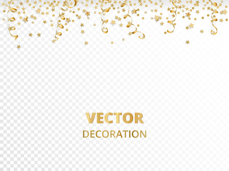 Holiday background. Isolated golden garland border, frame. Hanging baubles and falling confetti. Great for Christmas, New year cards, birthday and wedding invitations, banners, party posters. Stock Illustratie