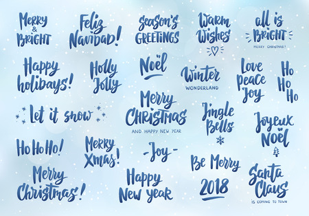Set Of Holiday Greeting Quotes And Wishes Hand Drawn Text Brush Enchanting Holiday Wishes Quotes