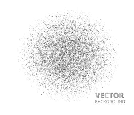 Festive silver sparkle background, glitter circle. Vector dust, diamonds on white.