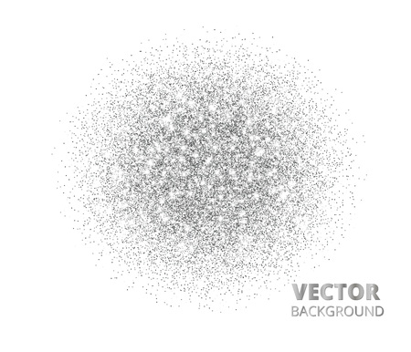 Festive silver sparkle background, glitter circle. Vector dust, diamonds on white.
