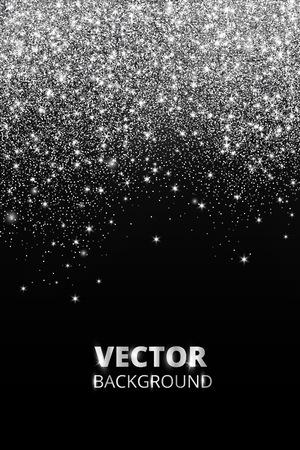 Falling glitter confetti. Vector silver dust, explosion on black background. Sparkling glitter border, festive frame. Stock Illustratie