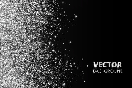 Glitter confetti, snow falling from the side. Vector silver dust, explosion on black background. Sparkling glitter border, festive frame