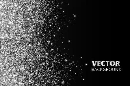 Glitter confetti, snow falling from the side. Vector silver dust, explosion on black background. Sparkling glitter border, festive frame