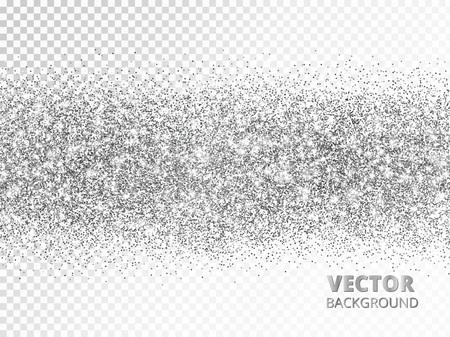 Sparkling glitter border isolated on white. Silver rectangle of glitter confetti, vector dust. Ilustrace