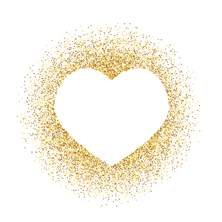 Golden glitter heart frame with space for text.