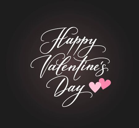 Banner With Happy Valentines Day Text And Hearts Symbols Stock