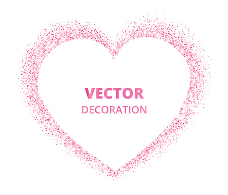 Pink glitter heart frame, border. Vector dust isolated on white. Great for decoration of Valentine and Mothers day cards, wedding invitations, party posters. 版權商用圖片 - 92026448