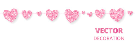 Pink glittering hearts seamless border for greeting card decoration. Illustration