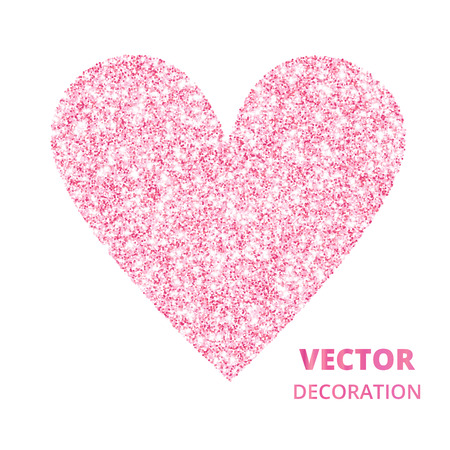 Pink glitter heart frame, border. Vector dust isolated on white. Great for decoration of Valentine and Mothers day cards, wedding invitations, party posters and flyers