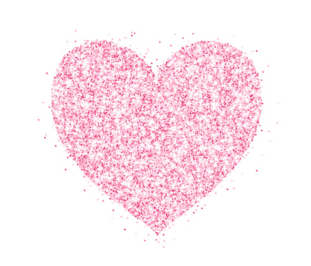 Pink glitter heart frame, border. Vector dust isolated on white. Great for decoration of Valentine and Mothers day cards, wedding invitations and party posters.