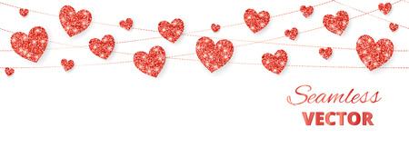 Cadre coeurs rouges, bordure sans soudure. Paillettes de vecteur isolé sur blanc. Pour la décoration des cartes de fête des mères et des mères