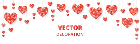 Red hearts frame, border. Vector glitter isolated on white. For decoration of Valentine and Mothers day cards, wedding invitations